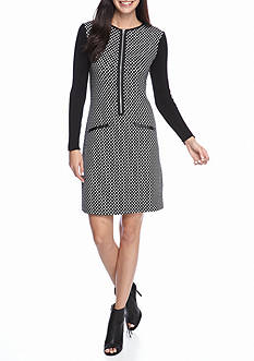 Lennie for Nina Leonard Zip Front Sweater Dress