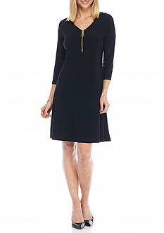 Lennie for Nina Leonard Zip Front Trapeze Dress