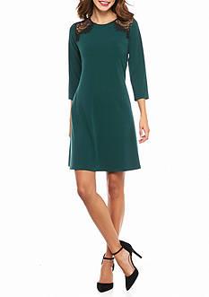 Lennie for Nina Leonard Lace Yoke Trapeze Dress