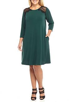 Lennie for Nina Leonard Plus Size Lace Yoke Trapeze Dress