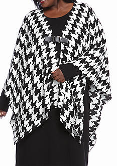 Lennie for Nina Leonard Plus Size Houndstooth Poncho with Sweater Dress