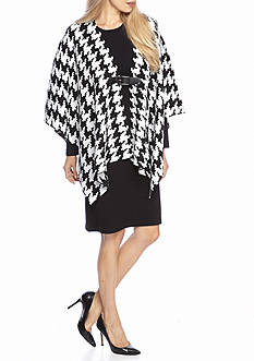 Lennie for Nina Leonard Houndstooth Poncho with Sweater Dress