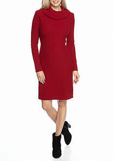 Lennie for Nina Leonard Cowl Neck Sweater Dress
