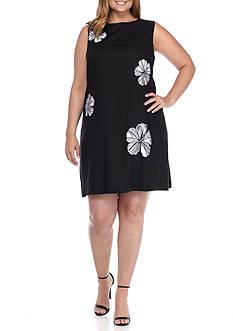 Lennie for Nina Leonard Plus Size Floral Cutout Linen Shift Dress