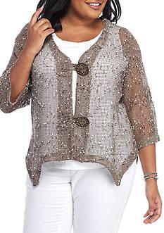 Lennie for Nina Leonard Plus Size Crochet Topper