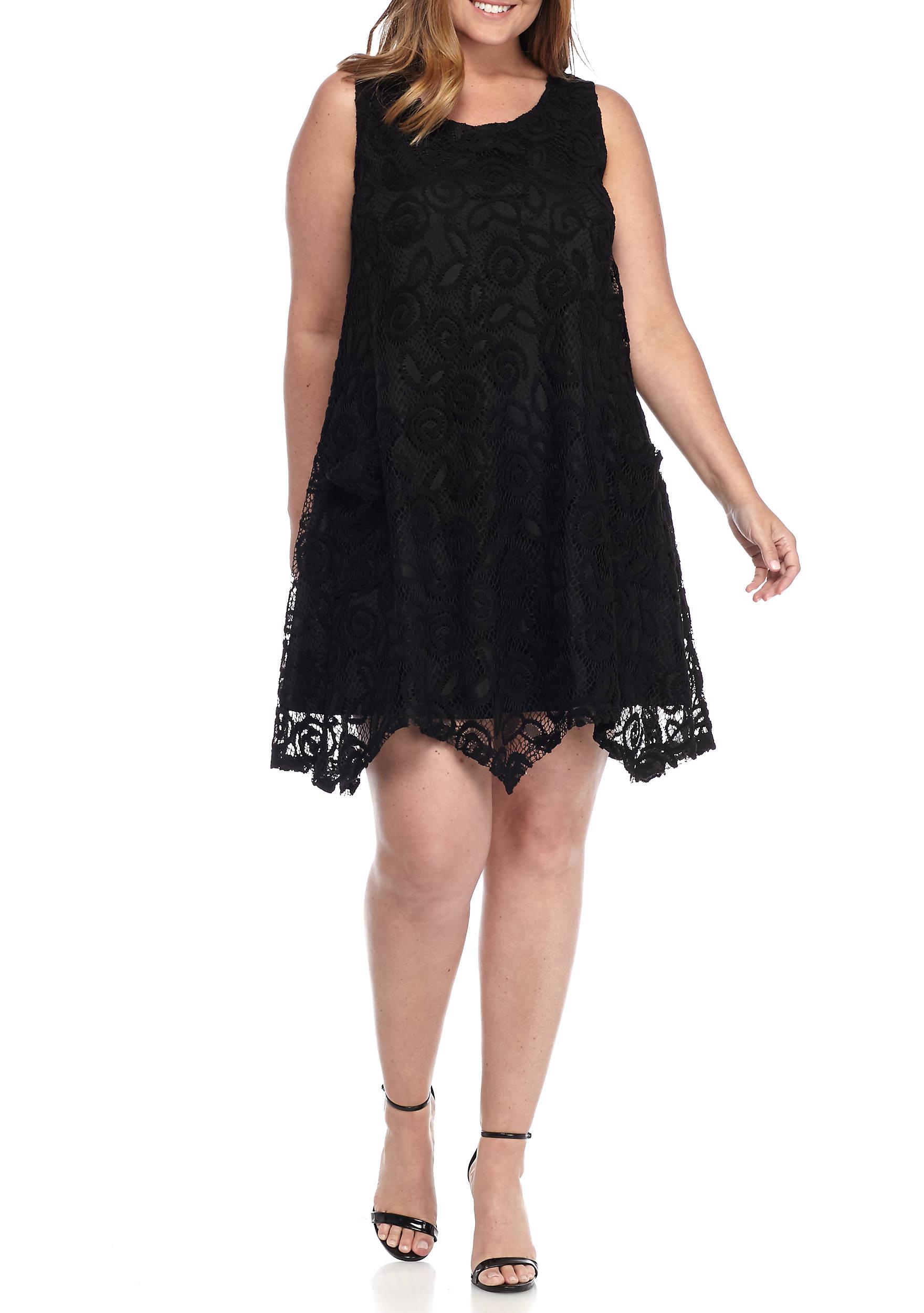 Lennie For Nina Leonard Plus Size Lace Trapeze Dress   belk