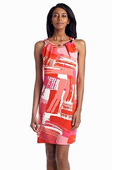 Sandra Darren Printed Halter Dress