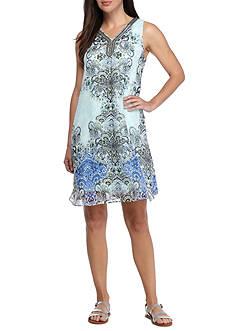 Sandra Darren Bead Embellished Printed Trapeze Dress