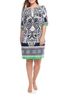 Sandra Darren Plus Size Paisley Printed Shift Dress