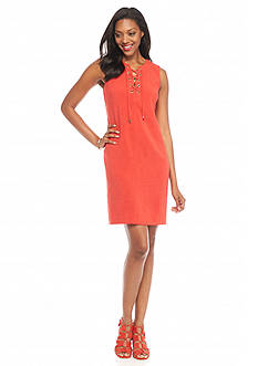 Sandra Darren Lace Front Shift Dress