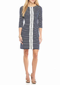 Sandra Darren Lace Trim Stripe Shift Dress