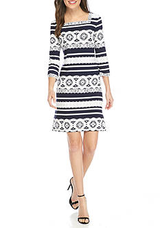 Sandra Darren Puff Print Square Neck Dress