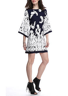 Sandra Darren Kimono Sleeve Paisley Shift Dress