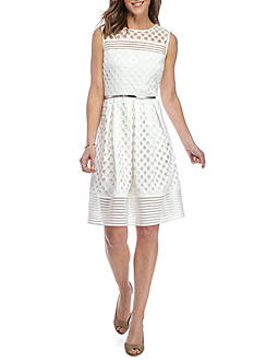Sandra Darren Eyelet Lace Belted Fit and Flare Dress