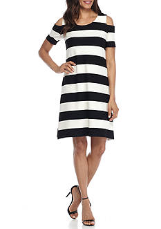Sandra Darren Cold Shoulder Stripe Pique Knit Trapeze Dress