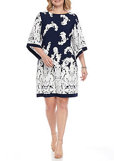 Sandra Darren Plus Size Kimono Sleeve Paisley Shift Dress
