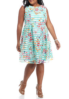 Sandra Darren Plus Size Floral Stripe Organza Fit and Flare Dress