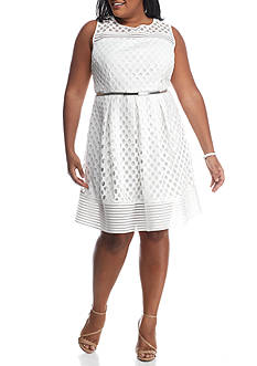 Sandra Darren Plus Size Eyelet Lace Belted Fit and Flare Dress