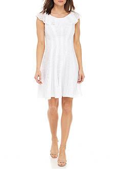 Sandra Darren Ruffle Neck Fit and Flare Burnout Dress