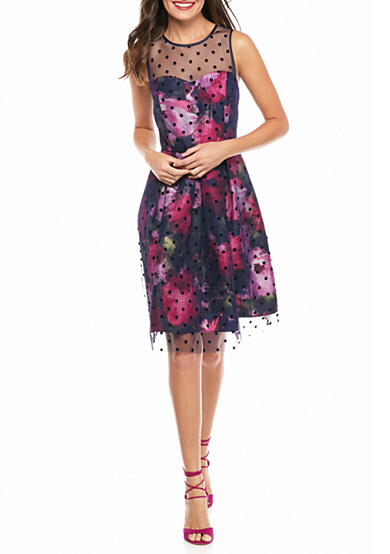 Sandra Darren Mesh Dot Overlay Floral Cocktail Dress