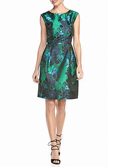 Sandra Darren Floral Printed Jacquard Fit and Flare Dress