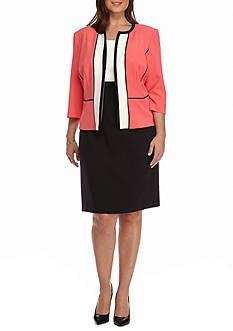 Sandra Darren Plus Size Colorblock Jacket Dress