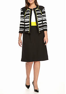Sandra Darren Plus Size Mixed Media Jacket Dress