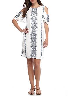 Sandra Darren Cold Shoulder Pompom Trim Shift Dress