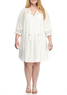 Sandra Darren Plus Size Crochet Trim Gauze Shift Dress