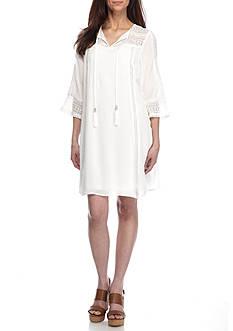 Sandra Darren Crochet Trim Gauze Shift Dress