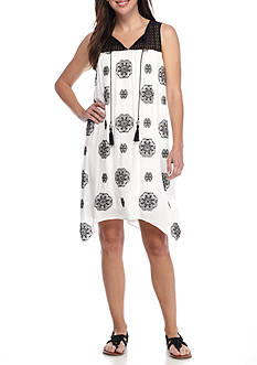 Sandra Darren Crochet Yoke Trapeze Dress