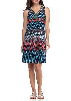 Sandra Darren Bead Embellished Chevron Stripe Trapeze Dress
