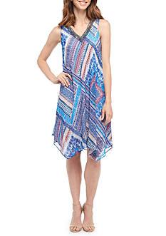Sandra Darren Printed Beaded Neck Chiffon Trapeze Dress