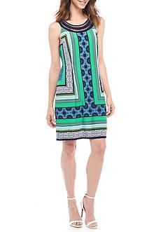 Sandra Darren Border Printed Halter Neck Jersey Dress