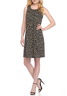 Perceptions Polka Dot Printed Pin-Tuck Shift Dress