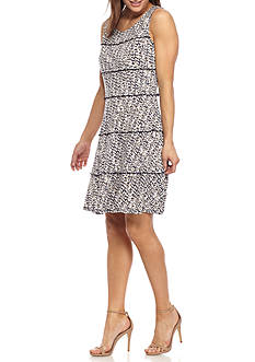 Perceptions Printed Tiered Fit and Flare Dress