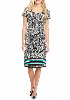 Perceptions Printed Tuck Pleated Shift Dress