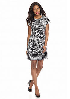 Perceptions Printed Fit and Flare Dress
