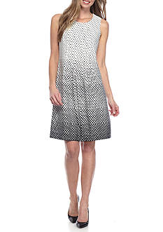 Perceptions Dot Print Shift Dress