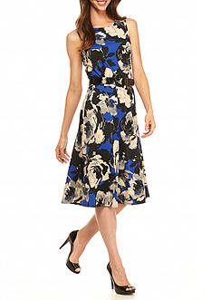 Perceptions Floral Printed Belted Fit and Flare Dress