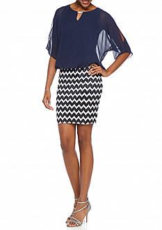 Perceptions Cold Shoulder Blouson Dress