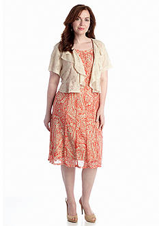 Perceptions Plus Size Lace Jacket Dress