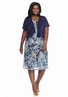 Chelsea Suite Plus Size Floral Lace Dress With Ruffle Cardigan