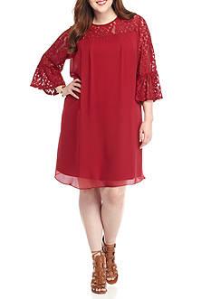 Perceptions Plus Size Lace Yoke Trapeze Dress