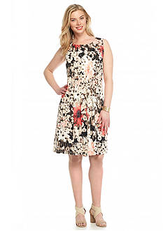 Perceptions Plus Size Floral Printed Shift Dress