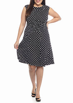Perception Plus Size Plus Size Polka Dot Fit and Flare Dress