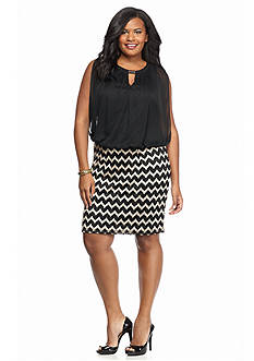 Perceptions Plus Size Blouson Cocktail Dress