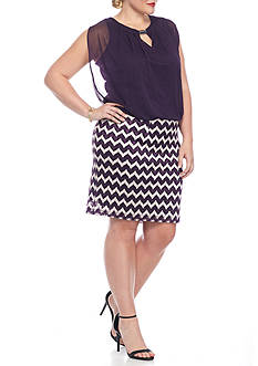 Perceptions Plus Size Chevron Blouson Dress