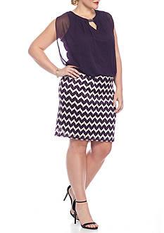 Perceptions Plus Size Chevron Blouson Dress