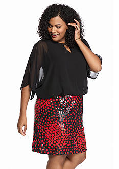 Perceptions Plus Size Cold Shoulder Blouson Dress